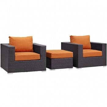 Convene 3 Piece Outdoor Patio Sectional Set, Espresso, Orange by Modway
