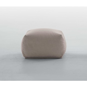 Truly Small Pouf, Dove Grey Pied De Poule Fabric