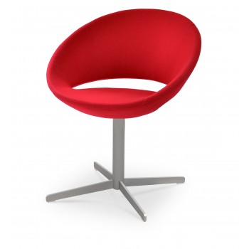 Crescent 4 Star Swivel Chair, Red Wool, Large Seat by SohoConcept Furniture