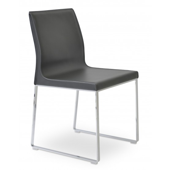 Polo Sled Dining Chair, Chrome, Dark Grey Bonded Leather photo
