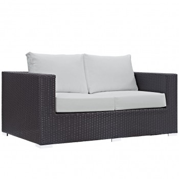 Convene Outdoor Patio Loveseat, Espresso, White by Modway