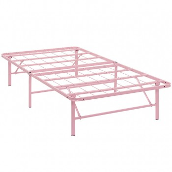 Horizon Twin Stainless Steel Bed Frame, Pink by Modway