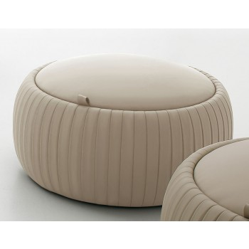 Plisse Small Pouf, Beige Eco-Leather