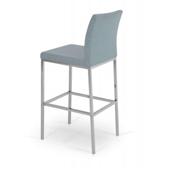 Aria Chrome Bar Stool, Smoke Blue Camira Wool by SohoConcept Furniture