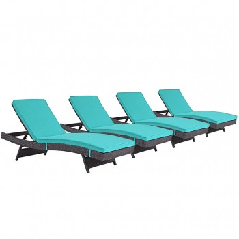 Convene Chaise Outdoor Patio, Set of 4, Espresso, Turquoise by Modway