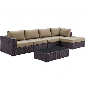 Convene 5 Piece Outdoor Patio Sectional Set, Сomposition 3, Espresso, Mocha by Modway