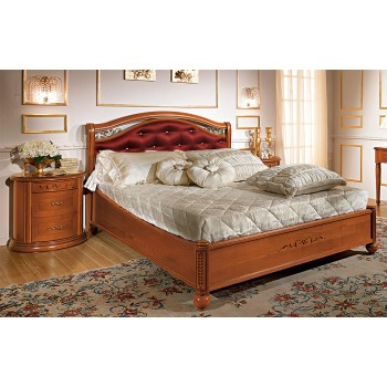 Siena Taffetas Euro Queen Size Bedroom Set w/Platform, Walnut