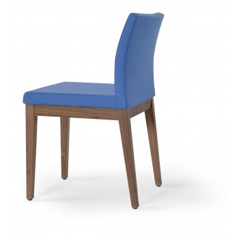 Aria Wood Dininng Chair, American Walnut Wood, Sky Blue Camira Wool by SohoConcept Furniture