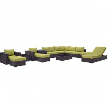 Convene 12 Piece Outdoor Patio Sectional Set, Espresso, Peridot by Modway