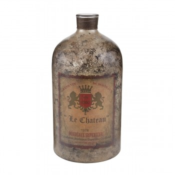 18-Inch Aged Mercury Glass Bottle