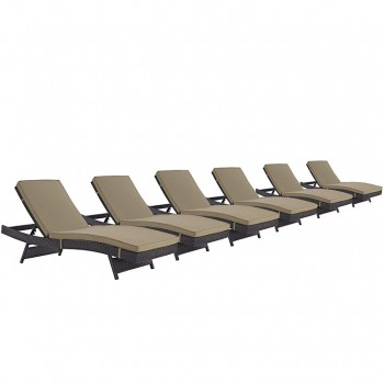 Convene Chaise Outdoor Patio, Set of 6, Espresso, Mocha by Modway