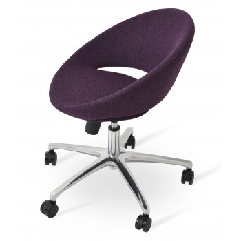 Crescent Office Chair, Base A1, Deep Maroon Camira Wool by SohoConcept Furniture