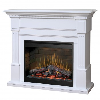 "Essex Electric Fireplace, White Finish, 30"" Log Set Firebox"