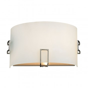 1 Light Wall Sconce Lamp in Brushed Nickel and White Glass 3