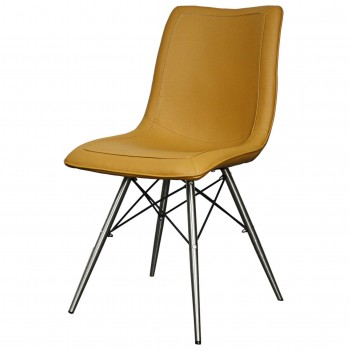 Blaine PU Chair, Stainless Steel Legs, Turmeric, Set of 2 by NPD (New Pacific Direct)