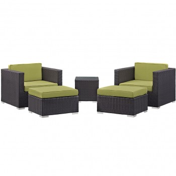 Convene 5 Piece Outdoor Patio Sectional Set, Сomposition 1, Espresso, Peridot by Modway