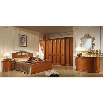 Siena Ferro Euro Queen Size Bedroom Set w/Footboard, Walnut