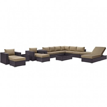 Convene 12 Piece Outdoor Patio Sectional Set, Espresso, Mocha by Modway