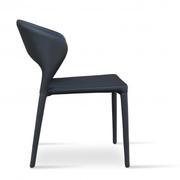 Prada Full Upholstered Stackable Chair, Black PPM by SohoConcept Furniture