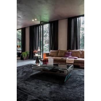 Amaranto Coffee Table with Heat-Treated Dark Oak Wood Shelf, Extra Clear Transparent