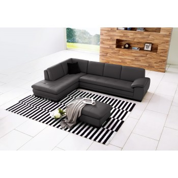 625 Italian Leather Sectional, Left Arm Chaise Facing, Grey by J&M Furniture