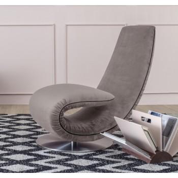Ricciolo Chaise Lounge, Wisteria Vega Velvet