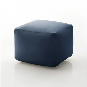 Truly Small Pouf, Blue Eco-Leather