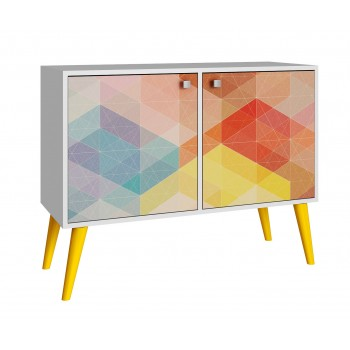 Avesta Double Side Table 2.0, White + Yellow Legs