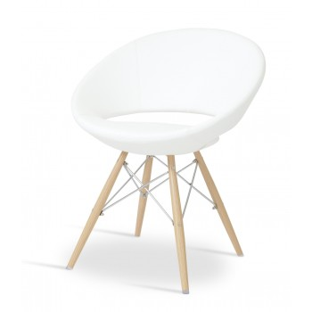 Crescent MW Chair, Natural Veneer Steel, White PPM, Large Seat by SohoConcept Furniture