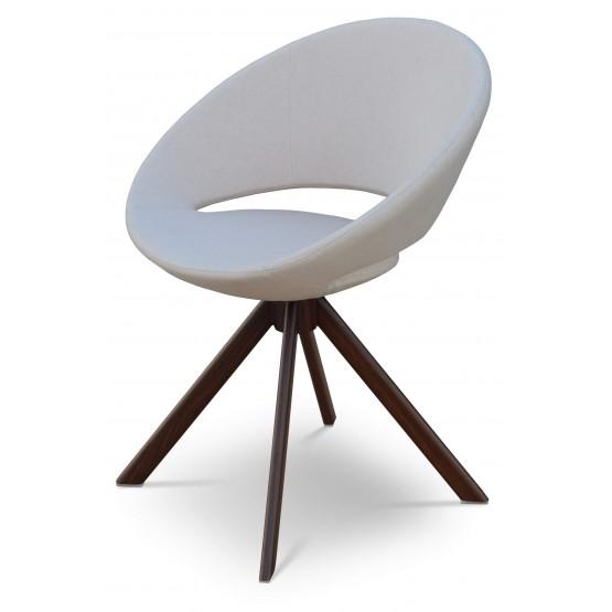 Crescent Sword Chair, Walnut Veneer Steel, Beige Wool, Large Seat photo