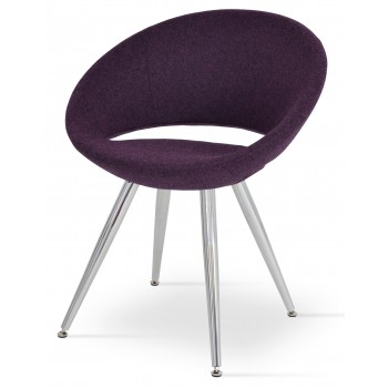 Crescent Star Chair, Stainless Steel, Deep Maroon Camira Wool, Adjustable Foot Caps, Large Seat by SohoConcept Furniture