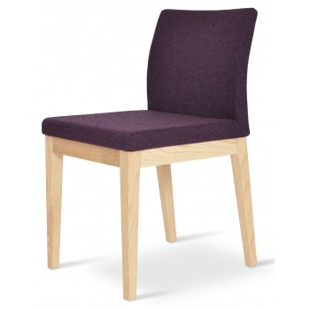 Aria Wood Dininng Chair, Natural Ash Wood, Deep Maroon Camira Wool by SohoConcept Furniture