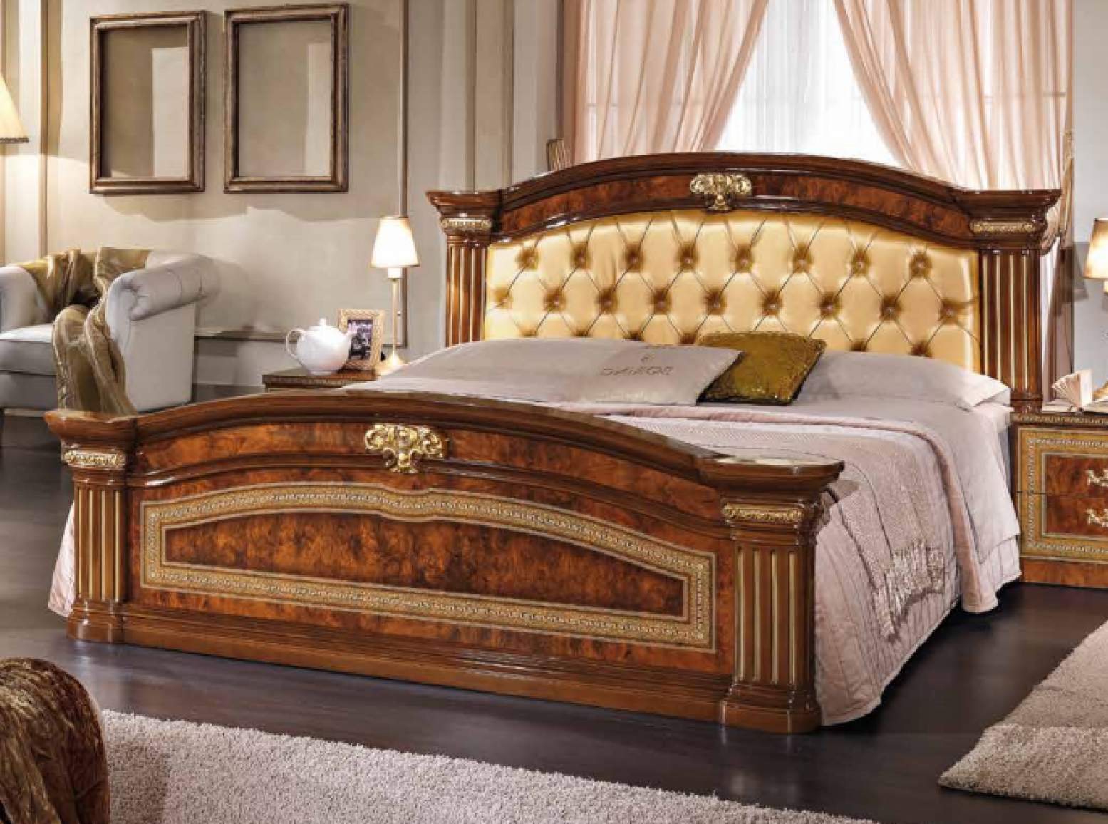 Picture of: Alexandra Queen Size Bed W Upholstered Headboard Walnut Buy Online At Best Price