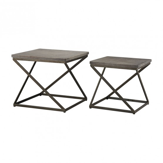 Moya Aged Iron Set of 2 Metal and Concrete Accent Tables photo