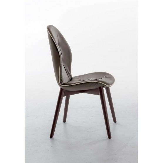 Sorrento Dining Chair, Dark Oak Heat-Treated Wood Base, Mud Eco-Leather Upholstery, Dove Grey Creasing photo