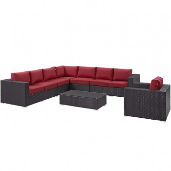 Convene 7 Piece Outdoor Patio Sectional Set, Сomposition 2,Espresso, Red by Modway