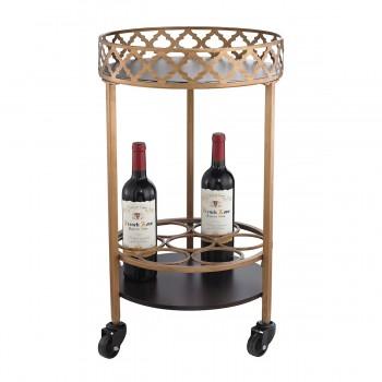 Circular Quatrefoil Bar Cart