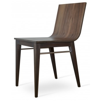 Corona Wood Dining Chair, Beech Walnut Base, Plywood Seat American Walnut by SohoConcept Furniture