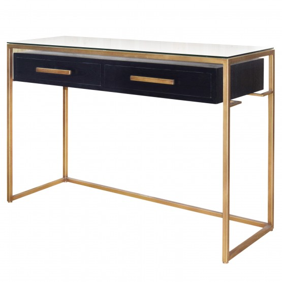 Firenze Floating Console Table w/2 Drawers, Gold Frame, Espresso photo
