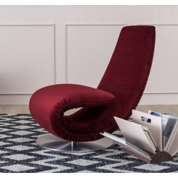 Ricciolo Chaise Lounge, Old Burgundy Red Vega Velvet
