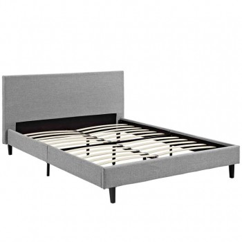 Anya Full Fabric Bed, Light Gray by Modway