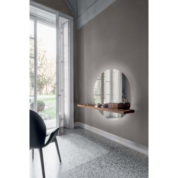 Sunset LED Silver Mirror with Touch Control, Canaletto Walnut