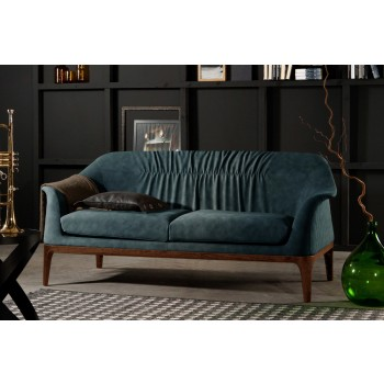 Tiffany Sofa, Canaletto Walnut Wood Base, Oil Blue Nubuck Eco-Leather