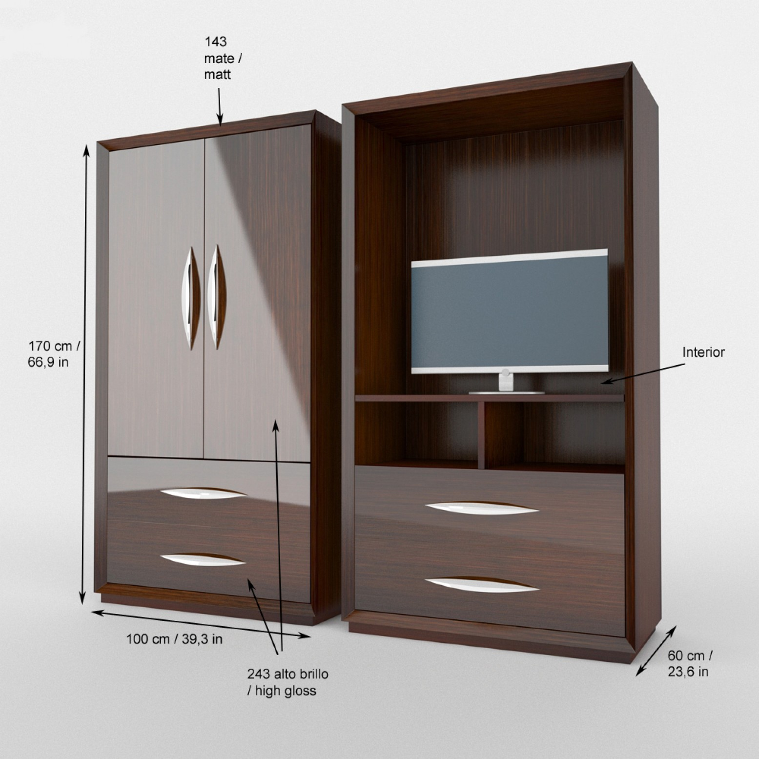 Carmen Walnut Modern Italian Bedroom Set: Carmen Queen Size Bedroom Set, Composition 1, Walnut Buy