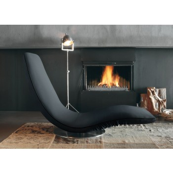 Ricciolo Chaise Lounge, Anthracite Grey Orchidea Fabric