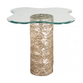 Mini Flora Accent Table In Silver Leaf And Antique Champagne