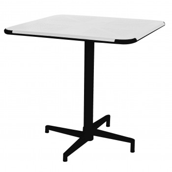 Colt Metal Folding Square Table, White + Black by NPD (New Pacific Direct)