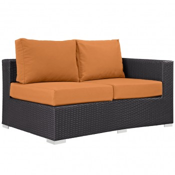 Convene Outdoor Patio Right Arm Loveseat, Espresso, Orange by Modway