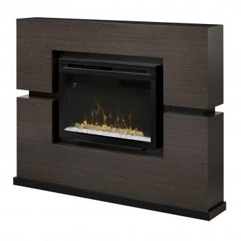 "Linwood Mantel Electric Fireplace, Rift Grey Finish, 33"" Acrylic Ice Firebox"