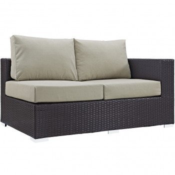 Convene Outdoor Patio Right Arm Loveseat, Espresso, Beige by Modway